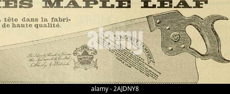 Le quincaillier (Juillet-Decembre 1905) . Le Canada tient la tete dans la fabrication des sciea de haute quality. r,. v-?^^^/?^l/?/AVVVVt-VVVVVVVVVVvvVVVVVVVVvVv^/Vvvv^^. iN/iaoLufaoturees par The IVJapIG Leaf SaNw A/orks,SHURLY & DIETRICH,Proppi^taires, Gait, Ont. NOS Scies sonttremp^es aumoyen dun pro-(•6d6 secret. Nousgarantissons que cesont les Scies lesmieux trenipees quiexistent au monde.Comme fini, elles nesont inft^rieures itaucune autre et ellessont parfaitenient ai-guis6es. Nous d e-luandons un essai quiprouve nos ])r6ten-tions. Satisfactionsarantie. LE PRIX COURANT 51 Laiton en Feu - Stock Photo