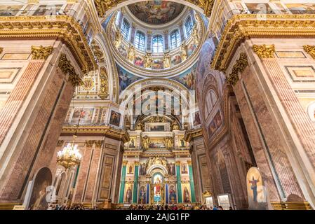 Saint Petersburg, Russia: Interior of Saint Isaac's Cathedral the largest Russian Orthodox cathedral in St Petersburg - Stock Photo