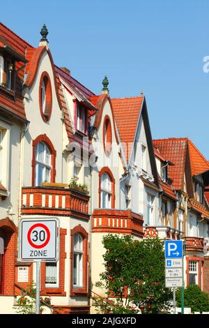 Old residential buildings, Tempo 30 Zone, Güstrow, Mecklenburg-West Pomerania, Germany, Europe - Stock Photo