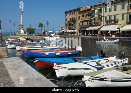 Old Port Of Lazise Harbour Lake Garda Italy - Stock Photo