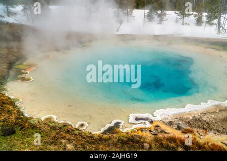 View of the Norris Geyser Basin with a Geothermal blue pool, Yellowstone National Park, USA.