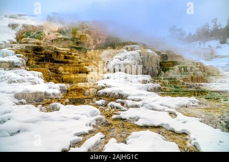 View of Canary Springs and terraces of Mammoth Hot Springs area during winter, Yellowstone National Park, USA.