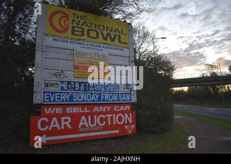 Sign at the entrance to the National Bowl, Milton Keynes - Stock Photo