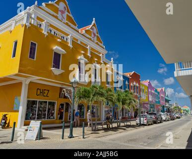 Colourful Buildings on the island of Bonaire - Stock Photo