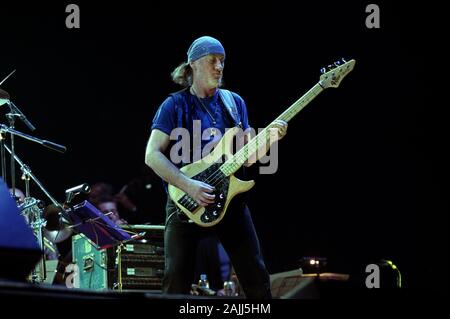 Milan Italy 23 October 2000 Live concert of Deep Purple & Romanian Philarmonic Orchestra + Ronnie James Dio at the Fila Forum Assago : Roger Glover during the concert - Stock Photo