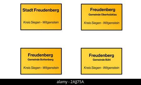 Signpost set Freudenberg,NRW,Germany. Different districts. - Stock Photo