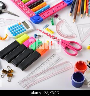 Set school supplies on white background. Top view. - Stock Photo