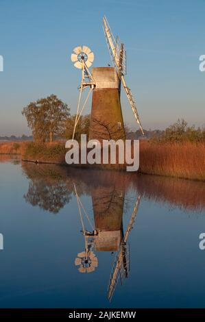 Turf Fen windmill on the River Ant at dawn. Norfolk Broads. Norfolk, England. Uk - Stock Photo