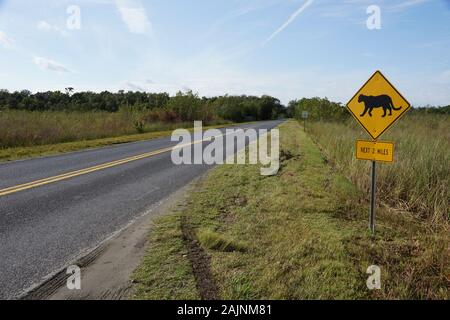 Crossing sign for Florida panther (Puma concolor couguar) in National Park Everglades in Florida USA - Stock Photo