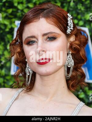 BEVERLY HILLS, LOS ANGELES, CALIFORNIA, USA - JANUARY 04: Singer Kiesza arrives at the 7th Annual Gold Meets Golden Event held at Virginia Robinson Gardens and Estate on January 4, 2020 in Beverly Hills, Los Angeles, California, USA. (Photo by Xavier Collin/Image Press Agency) - Stock Photo