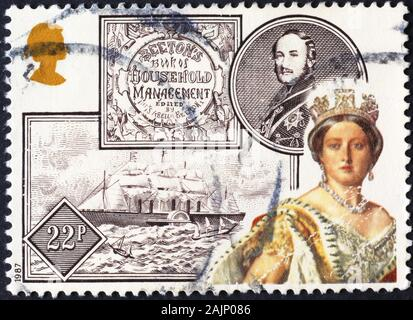 Young queen Victoria on british postage stamp - Stock Photo