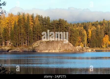 Autumn nature on the waterside of The Saimaa Lake in Puumala Municipality. Southern Savonia (Savo) Region. Finland - Stock Photo
