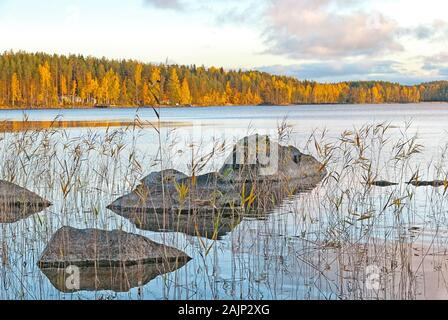 Stones in the water of The Saimaa Lake in Puumala Municipality. Southern Savonia (Savo) Region. Finland - Stock Photo