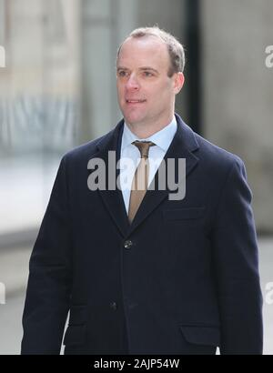 London, UK, 5th Jan, 2020. Foreign Secretary Dominic Raab seen arriving to the BBC studios in London Credit: WFPA/Alamy Live News - Stock Photo