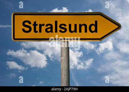 Detail photo of a signpost with the inscription Stralsund, Mecklenburg-Vorpommern, Germany, Europe - Stock Photo