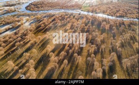 (200105) -- BEIJING, Jan. 5, 2020 (Xinhua) -- Aerial photo taken on Dec. 8, 2019 shows the scenery along the Yarlung Zangbo River in southwest China's Tibet Autonomous Region. (Xinhua/Purbu Zhaxi) - Stock Photo
