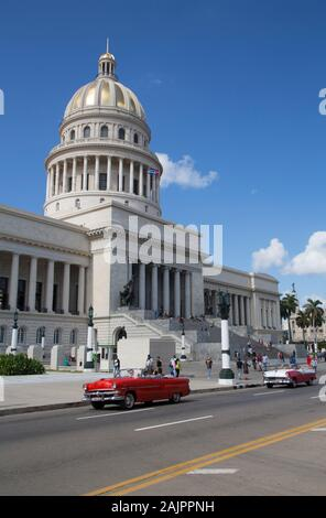 Capitol Building with Classic Old Car, Old Town, UNESCO World Heritage Site, Havana, Cuba