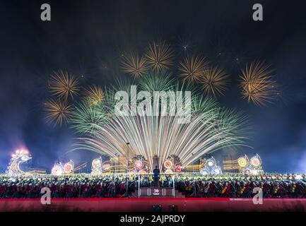 (200105) -- BEIJING, Jan. 5, 2020 (Xinhua) -- Fireworks explode during a grand evening gala marking the 70th founding anniversary of the People's Republic of China in Beijing, capital of China, Oct. 1, 2019. (Xinhua/Luo Xiaoguang) - Stock Photo