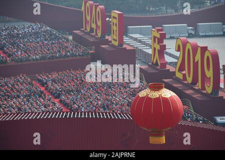 (200105) -- BEIJING, Jan. 5, 2020 (Xinhua) -- Celebrations for the 70th anniversary of the founding of the People's Republic of China are held in Beijing, capital of China, Oct. 1, 2019. (Xinhua/Song Weiwei) - Stock Photo