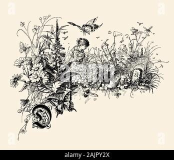 Beautiful front chapter decoration with spring scene: girl picking flowers in a blooming meadow and a boy running to catch a butterfly with a net and a capital letter D in old German style