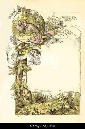 Beautiful front chapter border with pheasant hidden in the wild, a hunting dog, floral decorations, capital letter L in old German style and tag label with copyspace