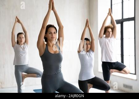Diverse group practicing yoga, standing in Tree pose together - Stock Photo