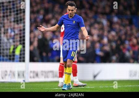 London, UK. 5 January 2020.  Pedro (11) of Chelsea gestures during the FA Cup match between Chelsea and Nottingham Forest at Stamford Bridge, London on Sunday 5th January 2020. (Credit: Jon Hobley | MI News) Photograph may only be used for newspaper and/or magazine editorial purposes, license required for commercial use Credit: MI News & Sport /Alamy Live News - Stock Photo