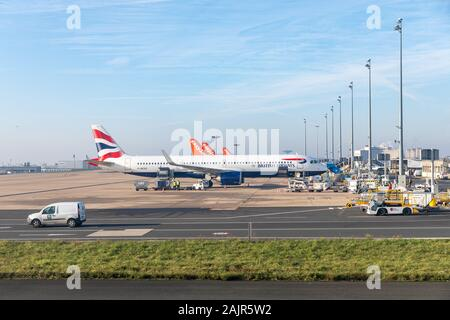 British Airways plane at Paris Charles de Gaulle Airport - Stock Photo
