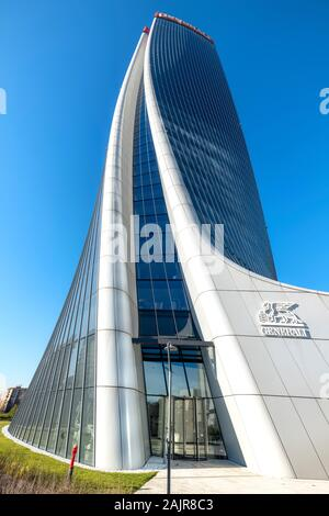 Milan Italy. Citylife Shopping District. Torre Hadid (Hadid Tower) - Stock Photo