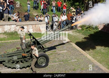 ROME, ITALY - OCTOBER 10, 2017: the traditional cannon shot of midday on the Gianicolo hill in Rome, Italy