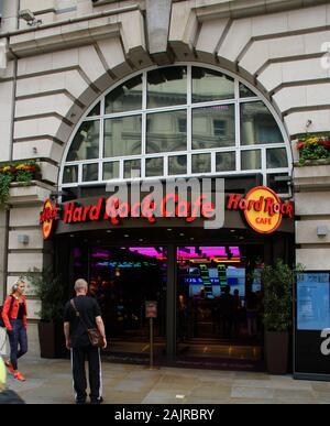 London, United Kingdom - August 18 2019:   The frontage of the Hard Rock Cafe on Coventry Street - Stock Photo