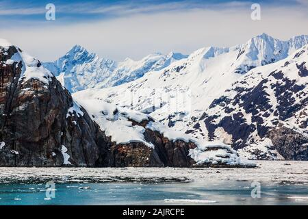 Johns Hopkins Inlet in Glacier Bay National Park. - Stock Photo