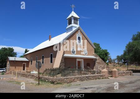 Iglesia Nuestra Senora de los Remedios, Church of Our Lady of the Remedies, Galisteo, Santa Fe County, New Mexico, USA - Stock Photo