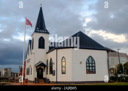 The Norwegian church is one of Cardiff Bay's landmarks. It has a great history, now serves as an arts centre and contains a  cafe. - Stock Photo