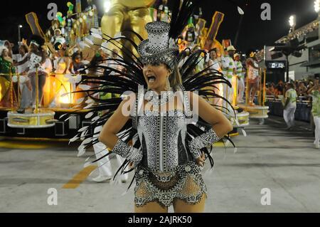 Rio de Janeiro, Brazil, February 26, 2017. Parade of samba schools during the carnival of the Sambodromo in the city of Rio de Janeiro. - Stock Photo