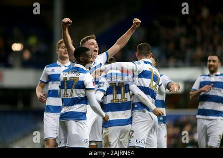 London, UK. 05th Jan, 2020. Josh Scowen of Queens Park Rangers (11) celebrates with his team mates after scoring a goal during The Emirates FA Cup 3rd round match, QPR v Swansea City at Kiyan Prince Foundation Stadium in London on Sunday 5th January 2020. this image may only be used for Editorial purposes. Editorial use only, license required for commercial use. No use in betting, games or a single club/league/player publications. pic by Tom Smeeth/Andrew Orchard sports photography/Alamy Live news Credit: Andrew Orchard sports photography/Alamy Live News - Stock Photo
