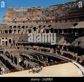 A photograph of the underground, floor and viewing platform in the Coliseum, Rome, Italy - Stock Photo