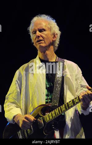 Milan Italy, 08 July 2012, live concert of Ray Manzarek and Robby Krieger of The Doors , at the 'Ippodromo del Galoppo': Robby Krieger during the concert - Stock Photo