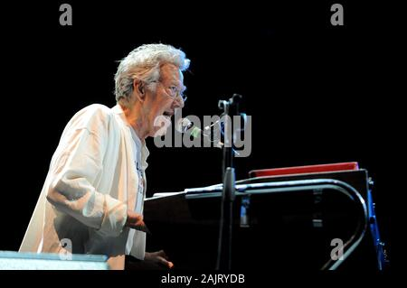 Milan Italy, 08 July 2012, live concert of Ray Manzarek and Robby Krieger of The Doors , at the 'Ippodromo del Galoppo': Ray Manzarek during the concert - Stock Photo