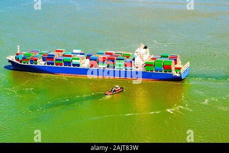 Aerial view to Bayonne Container Ship reflex - Stock Photo