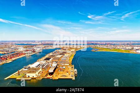 Bayonne Dry Dock and Repair and Global Container Terminal reflex - Stock Photo