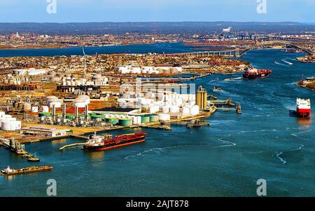 Aerial view on oil storages of Bayonne reflex - Stock Photo