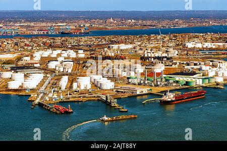 Aerial view on oil storages in Bayonne reflex - Stock Photo