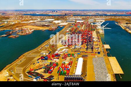 Aerial view to global container terminal in Bayonne reflex - Stock Photo
