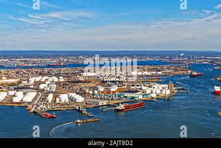View of Port Newark and the MAERSK shipping containers in Bayonne reflex - Stock Photo