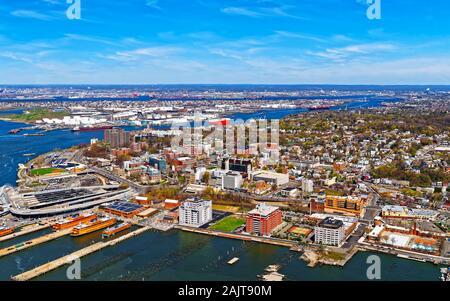 Aerial view of Port Newark in Bayonne reflex - Stock Photo