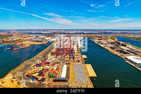 Global Container terminals in Bayonne with reflex - Stock Photo