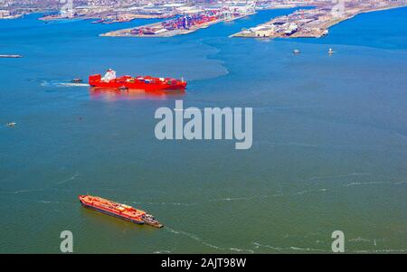 Container Ship and Bayonne Dry Dock and Repair reflex - Stock Photo
