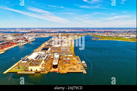Bayonne Dry Dock and Repair with reflex - Stock Photo