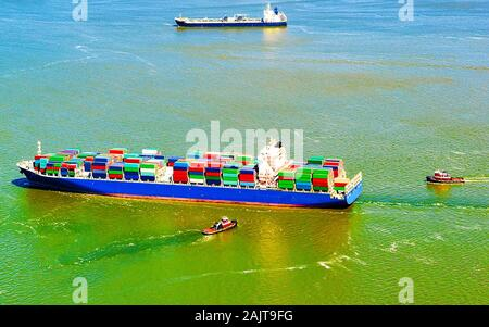 Aerial view of Bayonne Container Ship reflex - Stock Photo